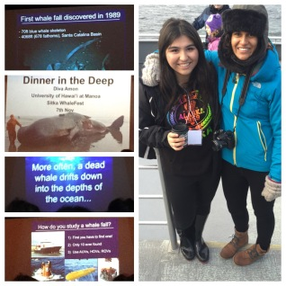 A collage of some of my talk created by Ana-Christine Tafoya (pictured), a student who attended Sitka WhaleFest. (Yes, I look like a crazy person but it was cold!)
