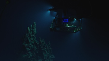 ROV Deep Discoverer exploring an extinct hydrothermal vent. Photo credit: NOAA OER.