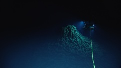 The ROV examining a recently-formed ropey lava mound. Photo credit: NOAA's Office of Ocean Exploration and Research