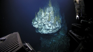 By far the best dive during the expedition: the discovery of a new hydrothermal-vent site, including this chimney which was over 10 stories tall. Photo credit: NOAA's Office of Ocean Exploration and Research