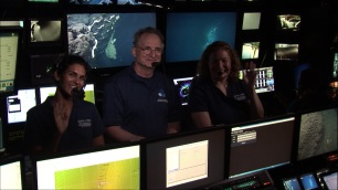 Deb Glickson, Jim Newman (ROV Operations Manager) and I hosting a live interaction with a school via video link. Photo credit: NOAA's Office of Ocean Exploration and Research