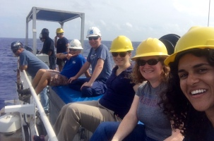 The gang, including Kelley Elliott (Expedition Lead), Dr. Deb Glickson (Geology Lead) and myself (Biology Lead) watching the deployment of the ROV and camera sled. Photo credit: Diva Amon