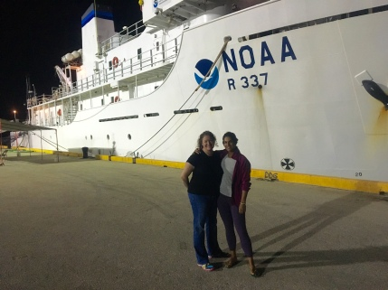 Deb and I saying our goodbyes to the NOAA Ship Okeanos Explorer. Photo credit: Diva Amon