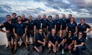 The science, mapping and video team for EX1605L1 on the NOAA Ship Okeanos Explorer. Photo credit: NOAA's Office of Ocean Exploration and Research